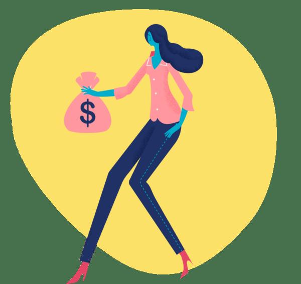 woman money bag yellow stain